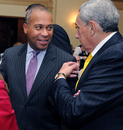 Salem:<br /> Gov. Deval Patrick speaks with William Tinti at the start of the North Shore Chamber of Commerce's Leadership Breakfast with Governor Deval Patrick at The Hawthorne Hotel.<br /> Photo by Ken Yuszkus, The Salem News,  Wednesday, October 16, 2013.