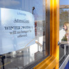"""Salem:<br /> The sign on door at Lifebridge reads: """"Attention: Winter Protocol Will No Longer Be Offerred.""""<br /> Photo by Ken Yuszkus, The Salem News,  Thursday, October 17, 2013."""