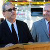 Beverly:<br /> Wes Slate, left, with Beverly Mayor Bill Scanlon at his side, speaks at the press conference where the mayor endorsed Wes Slate as a candidate for mayor in Beverly.<br /> Photo by Ken Yuszkus, The Salem News, Tuesday, October 01, 2013.