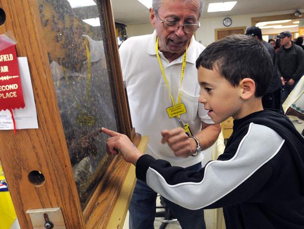 Topsfield:<br /> Thorpe Elementary School 2nd grader Andrew Makrakis points toward the queen honey bee at the honey bee hive exhibit at the Topsfield Fair. Ed Makarewicz is manning the exhibit.<br /> Photo by Ken Yuszkus, The Salem News,  Wednesday, October 09, 2013.