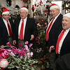 From left, The Village Voices Quartet, Ray DesChamps, John Sketchley, Jack Dowd, and Bob LeJeune sing for employees at Flores Mantilla during the annual Marblehead Christmas Walk festivities on Sunday. David Le/Salem News