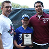 Beverly: Amy Modini, 13 of Beverly pose with David and John Nicastro. Amy was one of the recipients of the J.J. Nicastro Sportsmanship Award which were announced before the start of the District 15 Little League Championship game and given by Nicastro family members. Photo by David Le/Salem News