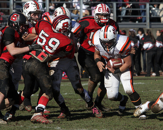Beverly running back Nick Theriault powers through the Salem defense on Thursday morning. David Le/Salem News