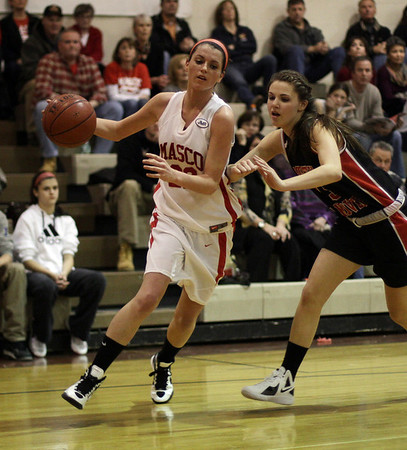 Topsfield: Masco's Claudia Marsh drives right past a North Andover player on Tuesday night. David Le/Salem News