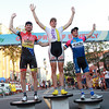 Beverly's Shawn Milne, left, stands in second place of the Men's Elite race of the Beverly Gran Prix, next to winner Ben Wolfe, of Old Lyme, CT, center, and Dylan McNichols, right, of Stratham, NH. David Le/Staff Photo