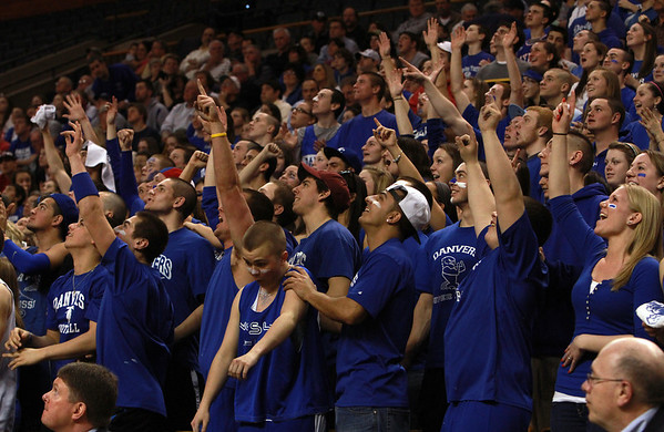 Danvers fans cheer on their team during the state semi-final against Wareham on Monday afternoon at the TD Garden. Danvers defeated Wareham 68-45 to advance to the D3 State Final on Saturday at the DCU Center in Worcester. David Le/Staff Photo