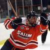 Salem State's Chris Costigan pumps his fist as he celebrates a goal against Plymouth State. David Le/Salem News