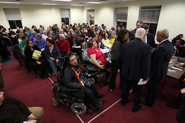 Hundreds of people turned out at Salem City Hall Annex on Wednesday evening to join in a public hearing held by MBTA officials to discuss the MBTA proposed plan to increase fares and cut services to the North Shore. David Le/Salem News