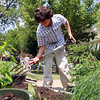 The Greenhouse School sixth grader Max Gieg works to turn soil in the garden on Tuesday afternoon. David Le/Staff Photo