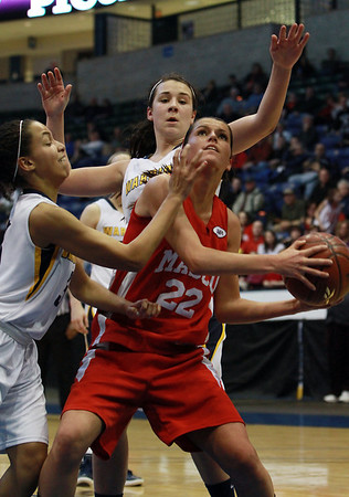 Masco junior Claudia Marsh (22) right, is surrounded by Andover defenders as she tries to look for a shot during the D1 North Final on Saturday afternoon. David Le/Staff Photo