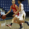Masco sophomore Hannah Kiernan (12) left, looks to pass while being defended by Andover's Angelice Gonzalez (3). David Le/Staff Photo