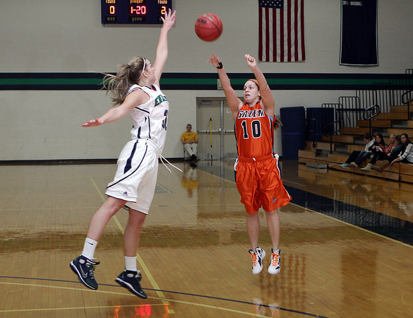 Salem State's Amy Barry (10) right, shoots over an Endicott defender on Thursday night. David Le/Salem News