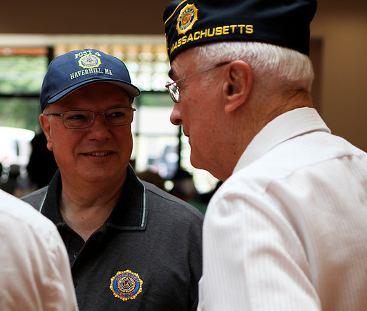 Middleton: John Lenotte, left, chats with Bruce Eaton at a luncheon where The American Legion Post 227 in Middleton hosted veterans from the Chelsea Soldiers Home on Saturday afternoon. Photo by David Le/Salem News