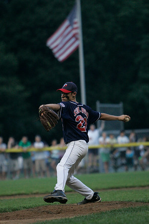 Beverly: Peabody West starting pitcher Bobby Sullivan throws a pitch in the first inning of the District 15 Little League Championship Game between Peabody West and Beverly West at Harry Ball field in Beverly. The game was postponed in the bottom of the 5th inning on Friday evening due to lightening and will resume Saturday afternoon at 5. Photo by David Le/Salem News