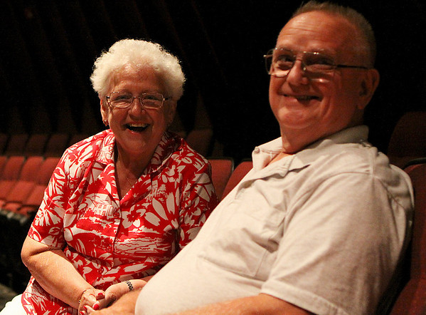 Beverly: Ellie and Billy Manning, of Sommerville wait for the second act of Gypsy to start at the North Shore Music Theater in Beverly on Tuesday evening. For the first time in over a year the North Shore Music Theater was bustling with action and excitement from both old and new customers of the theater. Photo by David Le/Salem News