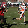 Beverly High School kick retruner Kenny Pierce has open field in front of him as he beats the Salem High School defense for a long touchdown return. David Le/Salem News