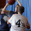 Nick Merriman (left) hits a jump shot during a PBA basketball game on Saturday morning. David Le/Salem News