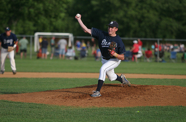Danvers: Danvers High School starting pitcher, Scott Hovey, throws a pitch against Gloucester in the Woodman Baseball Tournament Championship Game on Sunday. Photo by David Le/Salem News