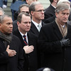 Peabody: From left, Massachusetts Governor Deval Patrick, Lieutenant Governor Tim Murray, State Represenative John Keenan, and Congressman John Tierney place their hands over their hearts as they salute deceased firefighter Jim Rice on Friday morning. David Le/Salem News
