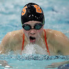 Beverly's Rachel Grant comes up for air during the 100 fly against Marblehead on Thursday. David Le/Salem News