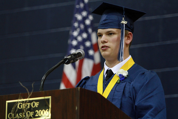North Shore Tech Salutatorian Chris Tufts speaks to his classmates during graduation on Friday evening. David Le/Staff Photo