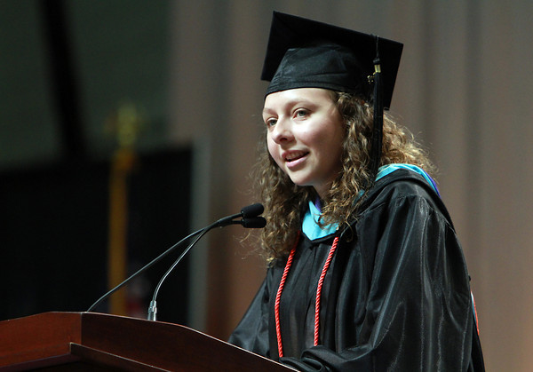 Salem State University Graduate student Whitney Nelson, delivers the Student Address at the Commencement ceremonies on Thursday afternoon. David Le/Staff Photo