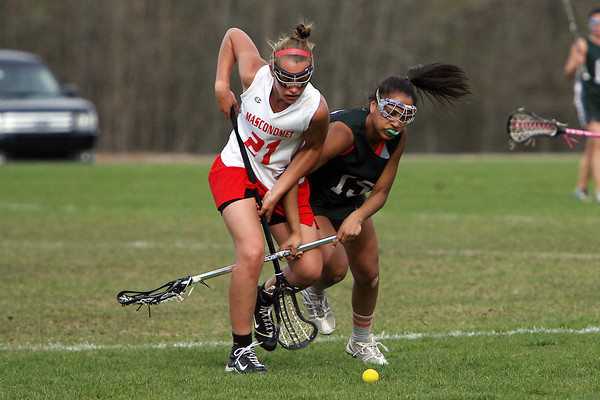 Masconomet's Amy Arnold (21) left, battles for a loose ball with Manchester-Essex 's Maya Heath (15) right, on Wednesday afternoon. David Le/Staff Photo