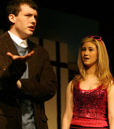 "Danvers High School junior Ryan Conrad, left, and sophomore Alex Skarmeas, right, rehearse a scene from ""Legally Blonde, The Musical"" on Saturday morning in preparation for their upcoming shows Thursday-Saturday (May 31st-June 2nd) at 7:30 pm, and a Saturday (June 2nd) afternoon matinee at 2:30 pm. David Le/Staff Photo"