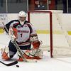 Salem State goalie Ryan Sutliffe (1) watchesthe puck closely as it flies by the net. David Le/Salem News