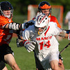 Masco's Jake Gillespie (14) right, drives past Beverly defenseman Dave Rollins during the second half of the North Shore Cup. Gillespie netted four goals and helped power the Chieftans to a 15-9 victory over the Panthers. David Le/Staff Photo