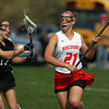 Masco's Amy Arnold (21) right, fires a shot on net while being defended by Beverly's Katie Pietrini, left, on Friday afternoon. David Le/Staff Photo