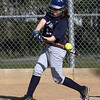 Swampscott's Samantha Rizzo lines one of her 3 hits into the outfield against Danvers on Friday afternoon. David Le/Staff Photo