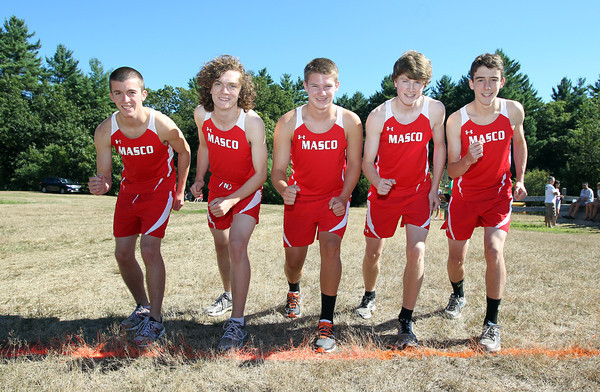 From left, Masco senior cross country captains Jake Moorman, Liam Davis, Jay Polakiewicz, Jake Wootan, and Marco Caserta look to lead the Chieftans in the Fall of 2012. David Le/Staff Photo