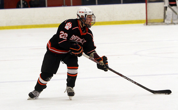 Beverly sophomore Connor Irving dangles with the puck in the offensive zone against Danvers on Wednesday night. Irving factored in all Beverly's scoring as he had 2 goals and 3 assists in a 5-2 Panther victory. David Le/Salem News