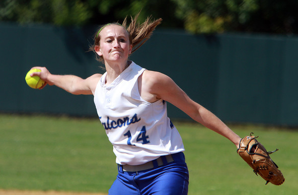Danvers High School starting pitcher Kendall Meehan delivers a strike against Dracut on Sunday afternoon. David Le/Staff Photo