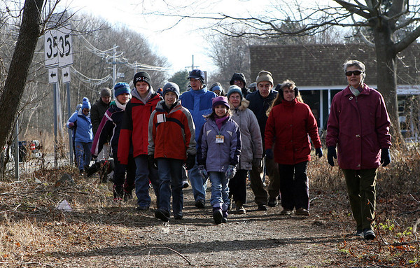 A large group of walkers enter the northern portion of the Danvers Rail Trail during the Danvers Bi-Peds Chocolate Stroll on Saturday afternoon. David Le/Salem News