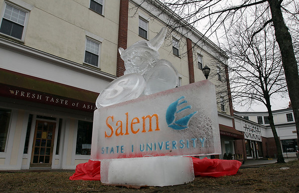 A Salem State University ice sculpture sits in the Bewitched Statue Park on Saturday morning as part of Salem's So Sweet Festival. David Le/Salem News