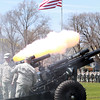Members of the 101st Field Artillery Canon US Army fire off 13 rounds of canon blasts across Salem Common on Saturday to commemorate the 375th Anniversary of the National Guard.  David Le/Staff Photo