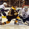 Marblehead native and Vancouver goalie Cory Schneider (35) tries to block a shot by Boston Bruins forward David Krejci as Vancouver's Ryan Kesler applies pressure. David Le/Salem News