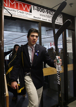 St. John's Prep senior captain Sam Kurker leaves Ristuccia Arena following a victory over Austin Prep. David Le/Staff Photo