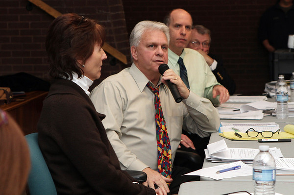 Peabody School Superintendent Herb Levine, center, addresses hundreds of concerned parents in the auditorium of the Burke Elementary School regarding possible school relocation because of PCB's in the air. David Le/Salem News