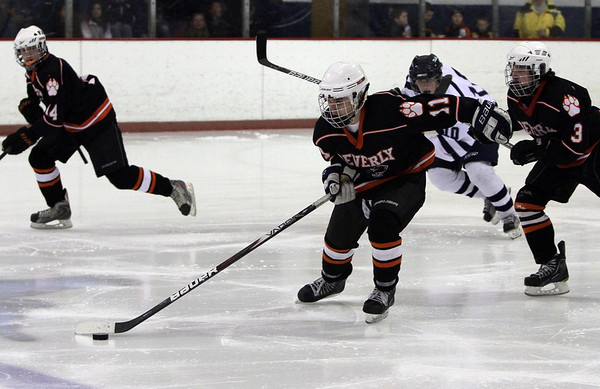 Beverly's Ryan Santi carries the puck up ice during the 25th Annual Carlin Cup on Monday afternoon. David Le/Staff Photo<br />  , Beverly's Ryan Santi carries the puck up ice during the 25th Annual Carlin Cup on Monday afternoon. David Le/Staff Photo<br />