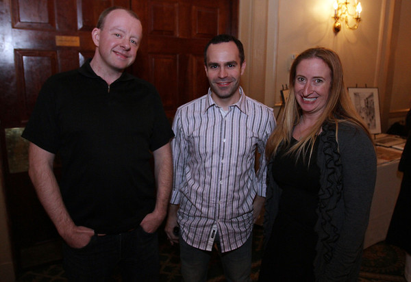 From left, Chris Cuddy, John Boveri, and Jeannine Pelkey, at the 2nd annual exhibit for artists and authors at the Hawthorne Hotel. David Le/Staff Photo