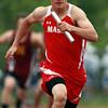 Masco's Eric Bonanno streaks towards the finish line, anchoring a winning 4x100 relay team for the Chieftans against Newburyport. David Le/Staff Photo