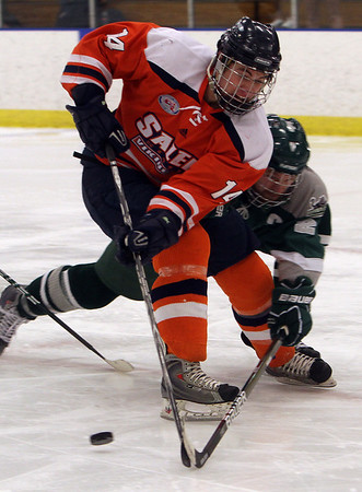 Salem State's Ian Flanagan (14) dangles with the puck while being pressured by a Plymouth State defender. David Le/Salem News