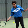 Pingree senior Anike Whitmore returns a serve during practice on Wednesday. David Le/Staff Photo