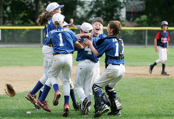 Danvers: Members of the Danvers American 11 year-old All-Star team celebrates their 8-7 victory over Peabody West in the Jimmy Fund Championship game held on Saturday afternoon at Tapley Park in Danvers. Photo by David Le/Salem News