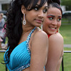 Salem High School prom goers Kiauris Sosa, left, and Natasha Diaz, pose for a photo at Salem Common on Friday evening. David Le/Staff Photo