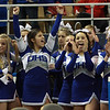 The Danvers High School Cheerleaders applaud as the Falcons receive the D3 State Championship Trophy following a win over St. Joseph's on Saturday afternoon. David Le/Staff Photo