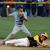Danvers American second baseman Andrew Dembowski, steps around sliding Saugus runner Justin Horvath, and fires the ball to first. David Le/Staff Photo
